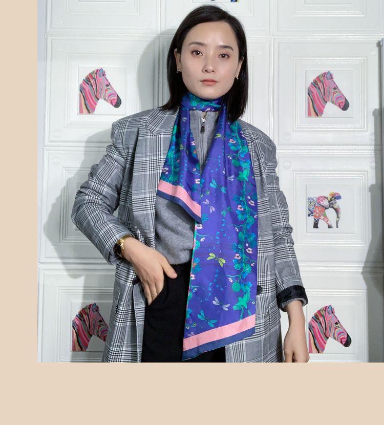2020 Double-deck beidseitiger Druck Kleiner Bind Griff Tasche 100% Seide Schal Band-Haar-Band-Frauen Schal Hijab # 4203
