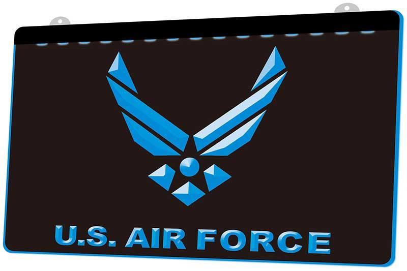 LS2441 États-Unis Force aérienne RGB Multiple Couleur télécommande LED Gravure 3D Neon Light Sign Boutique Bar Pub club
