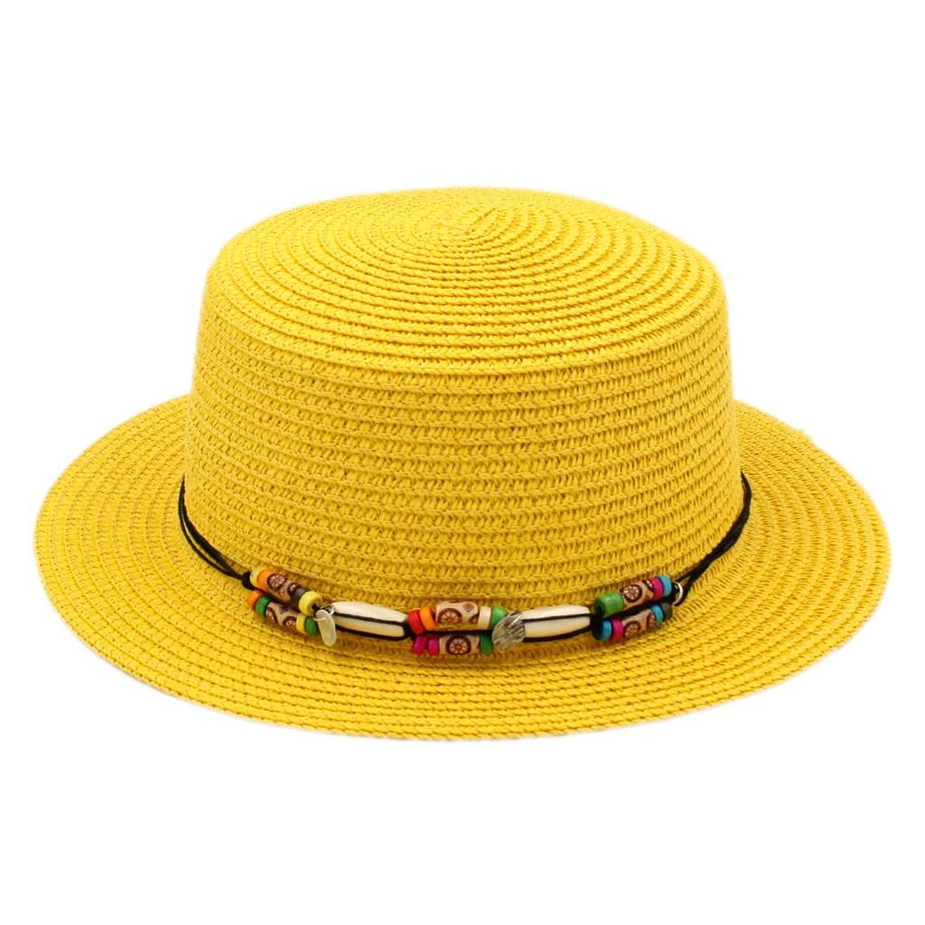 Fashion Women Ladies Straw Boater Hat Summer Beach Sailor Bowler Sun Flat Top Cap Wood Beading Hatband