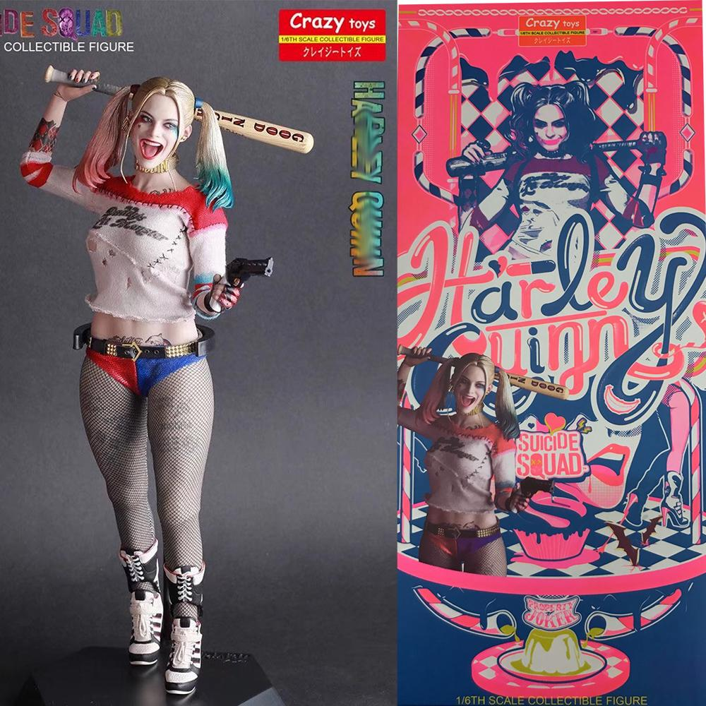 In Stock 30cm Real Clothes Undress Crazy Toys Suicide Squad Sexy Quinn Joker 1/6th Scale Action Figure Toy Doll Gift