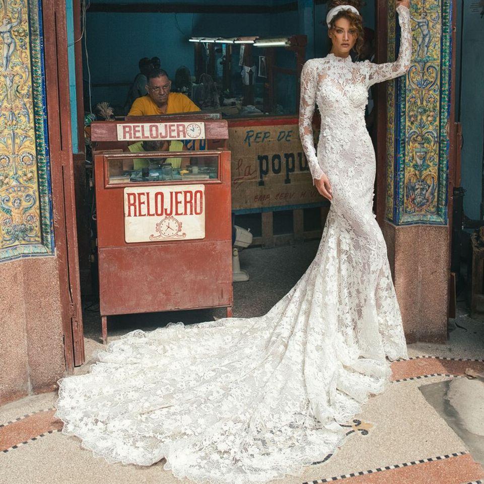 High Neck Long Sleeve Mermaid Wedding Dresses Vestido De Novia ...
