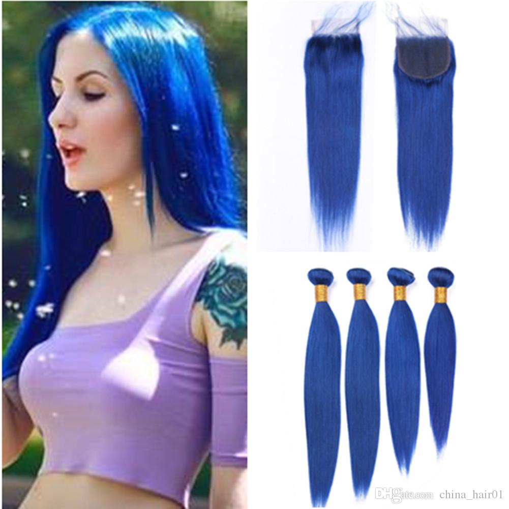 """Dark Blue Human Hair 4 Bundles and Closure Brazilian Straight Blue Color Weaves Virgin Hair Extensions with Lace Closure Piece 4x4"""""""