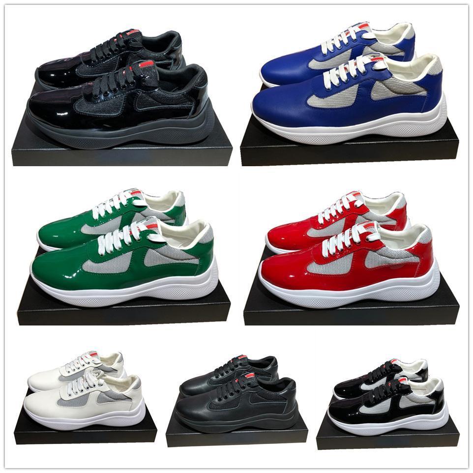 Erkekler Moda Günlük Ayakkabılar Amerika'nın Bardak Tasarımı Sneakers Patent Deri ve Naylon Lüks Sneakers ayakkabı mens