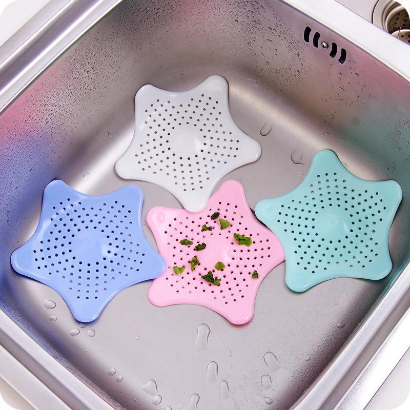 4 Color 1Pc del fregadero de cocina Filtro Estrella de alcantarillado del emisario de silicona colador Baño Pavimento de drenaje del colector del pelo tapón accesorios de baño