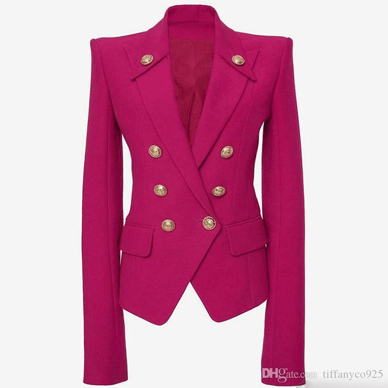 2020 Autumn Winter Hot Pink Long Sleeve Notched-Lapel Minimalist Plain Buttons Double-Breasted Blazers Fashion Casual Outwear Coats DN191907