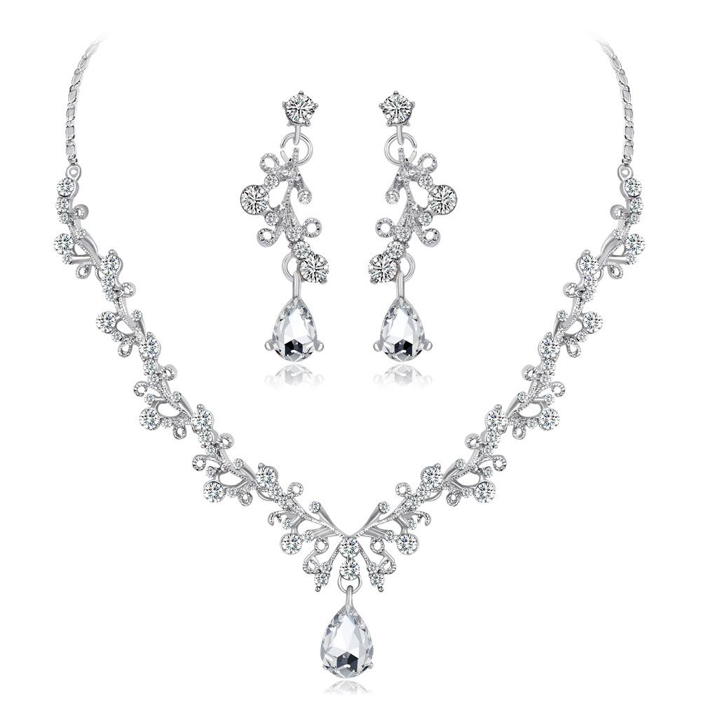 hair accessories for women tiara crowns Shiny high-end crystal diamond necklace set Bride wedding necklace earrings two-piece factory direct
