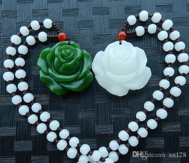 الخرز الصينية الخضراء الطبيعية قلادة زهرة قلادة قلادة قلادة الموضة سحر المجوهرات Jadeite منحوتة هدايا التميمة للنساء الرجال