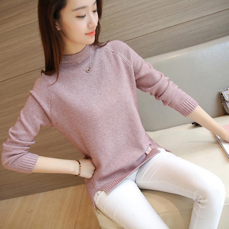2020 tapa del suéter del invierno del otoño de las mujeres del O-Cuello pollover flojo suéter de punto de Split Feamle informal básico