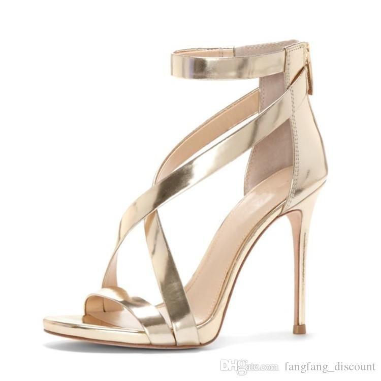 peep toes bolsa de talón fino tacón alto del verano del nuevo euro americanos hebilla sandalias de correas cruzadas grandes de tamaño