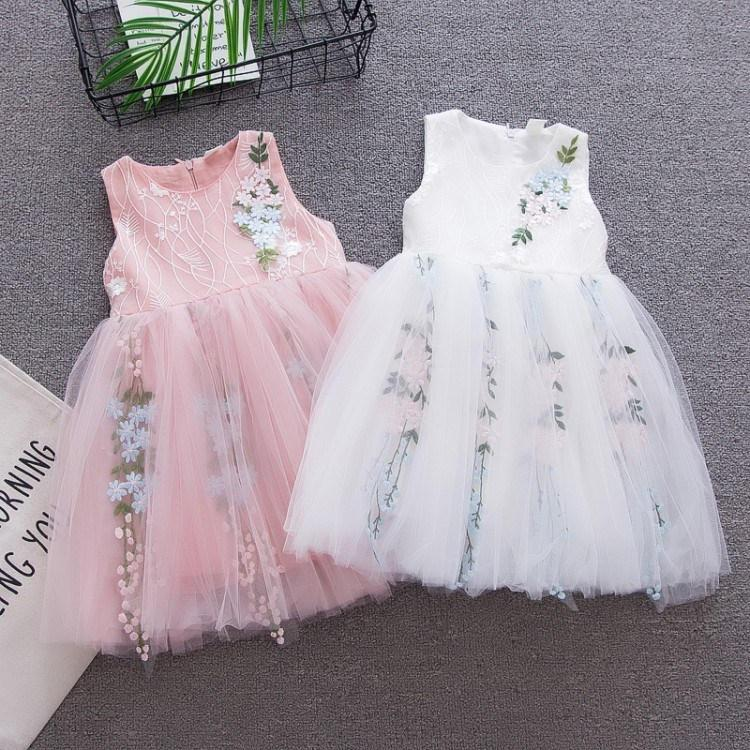 Meninas do bebê vestido de verão da criança moda rendas bordado vestidos de noiva sem mangas para meninas recém-nascidos do bebê girks festa princesa roupas