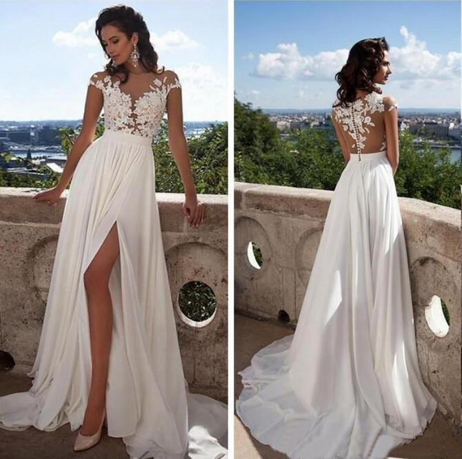 2020 Cheap Beach Bohemian Lace Wedding Dresses Cap Sleeves Appliques Wedding Dress High Side Split Backless Bridal Gowns Robe de mariee