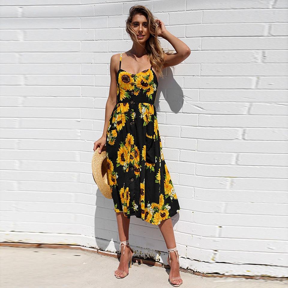 Женщины Повседневных платьев Sexy V шея Backless Цветочного лето пляж платье Boho Полосатый Кнопка Подсолнечной партия Midi платье