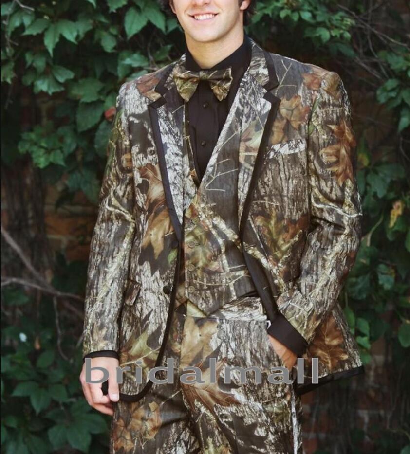 Realtree Camo Wedding Tuxedos for Farm Wedding Camouflage Suit Custom Made Mens Blazers Fashion Groom Wear 3 Piece Jacket Pants Vest