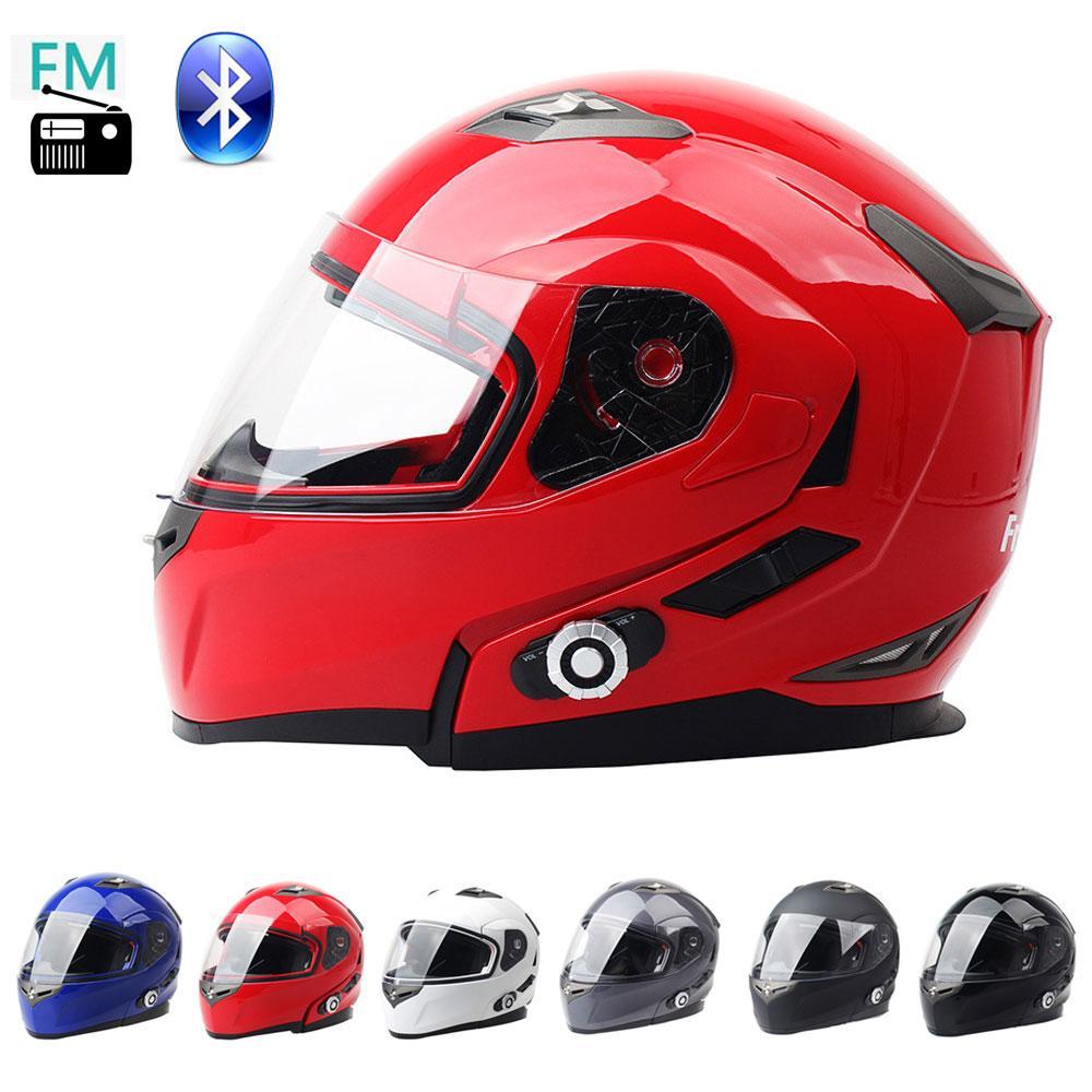 DOT aprobado Modular Motocicleta Flip Up Safety Safety Doble Lens Casco de cara abierta Completa Construido en Bluetooth Intercom y FM Radio