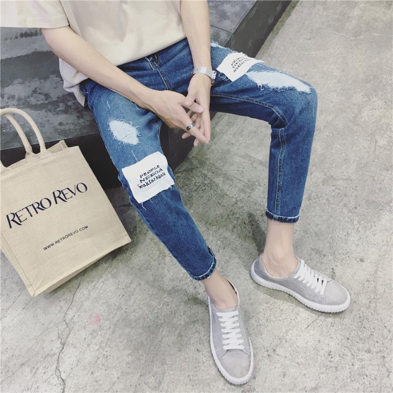 2020 al por mayor de moda casual vaqueros rotos de los hombres de otoño pantalones de los pies delgada pantalones lápiz juveniles tendencia coreana de los pantalones vaqueros