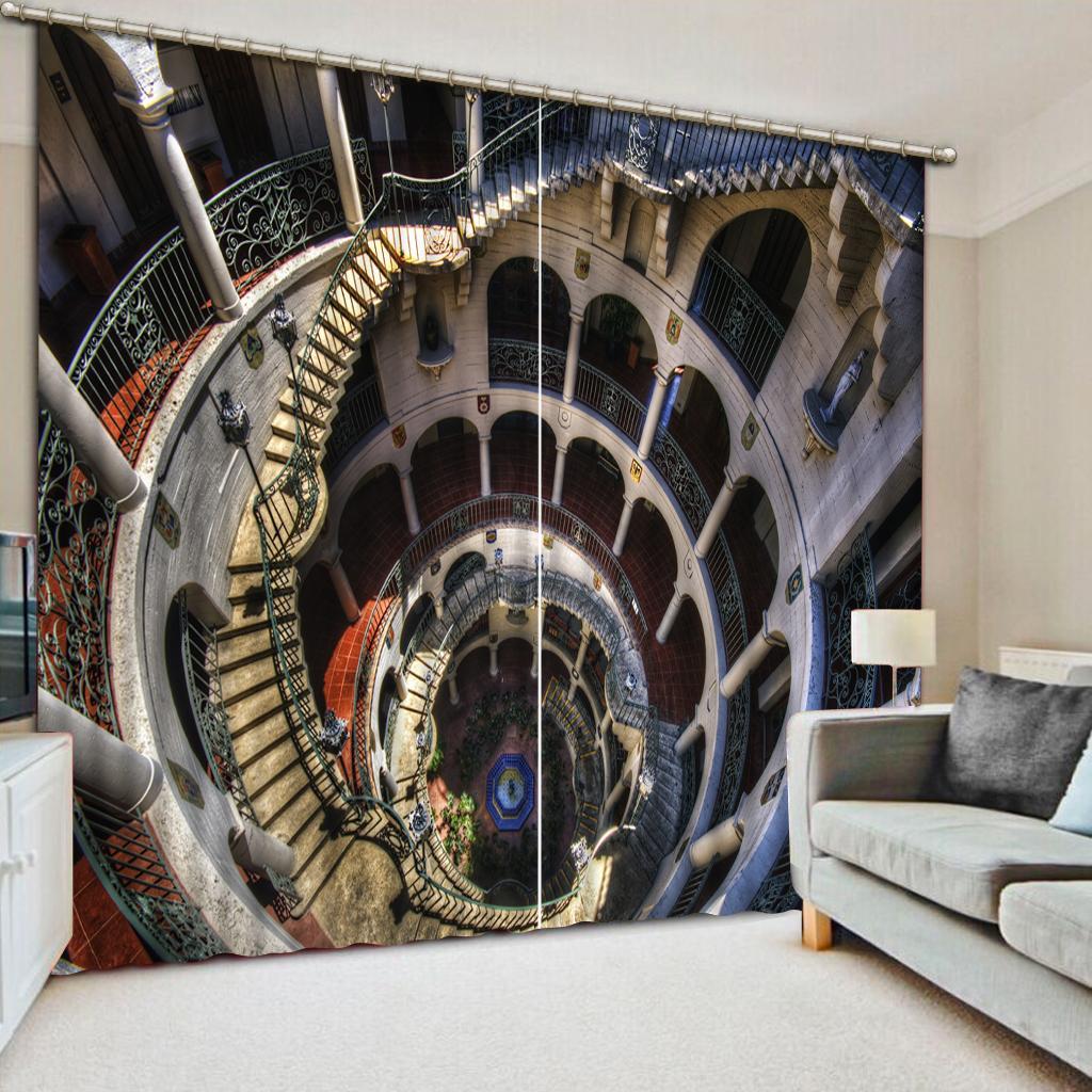 Классический декор Главная спальня украшения 3D занавес Европейский стерео винтовая лестница 3D затемнение окна Шторы