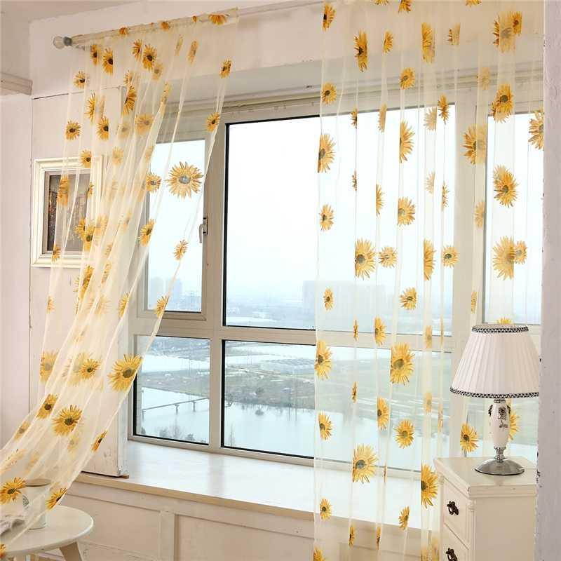 2020 100 200cm Modern Tulle Window Curtain Sunflower Printed Yarn