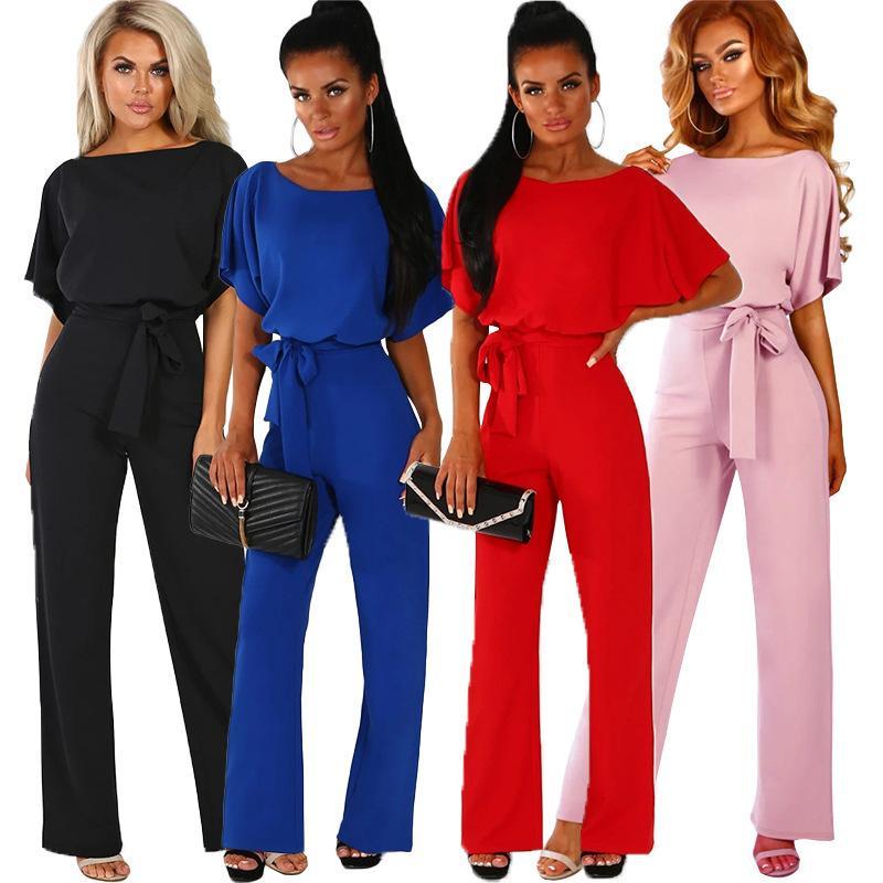 2019 Mulheres Verão Macacões de Trabalho de Escritório Ocasional Preto Vermelho Azul Macacão Solto Feminino Streetwear Manga Curta Plus Size Macacões Y19060501