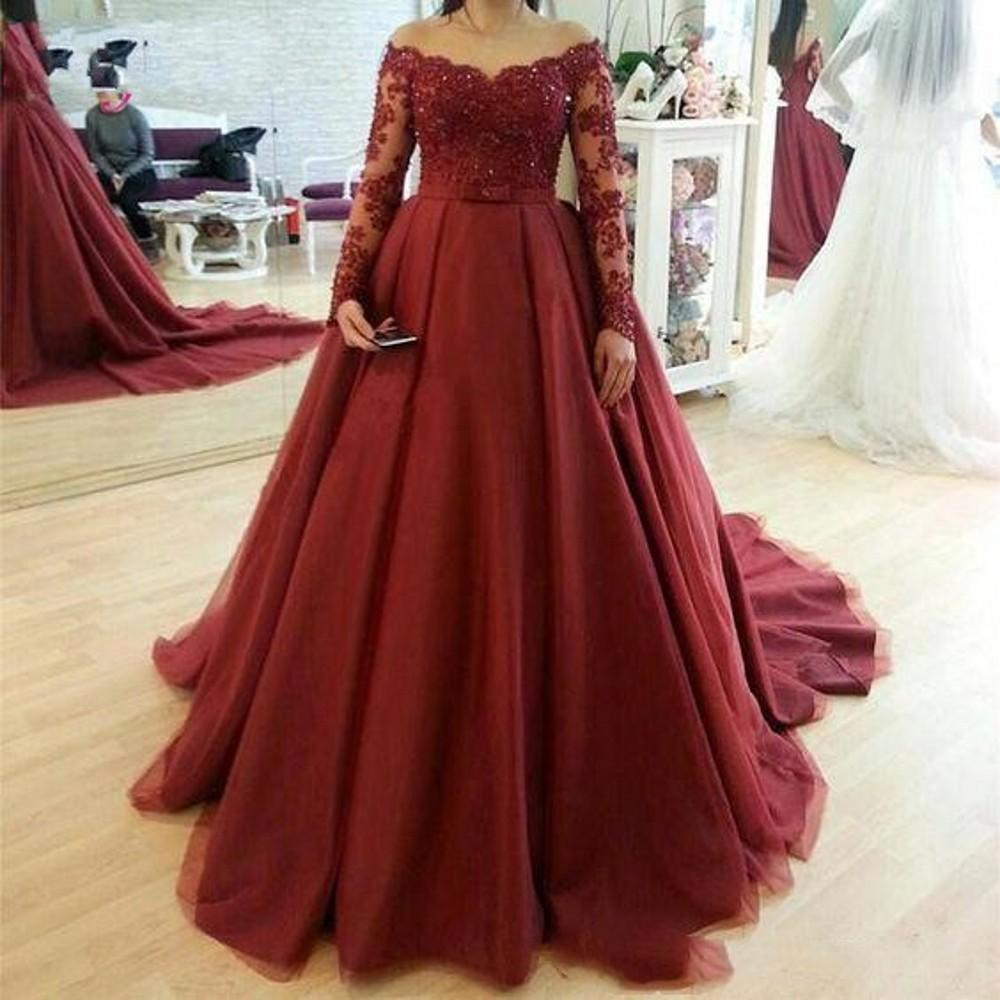 2020 Sexy Elegant Woman Plus Size Dark Red Prom Dresses Long Arabic Evening Gowns Formal Party Gala Dress Ball Gown