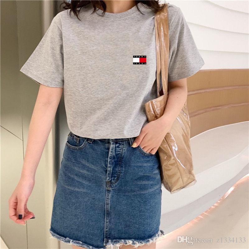 2019 verano camiseta ocasional Hombres Mujeres camiseta ocasional del patrón del equipo de moda Cuello impresión de algodón de manga corta