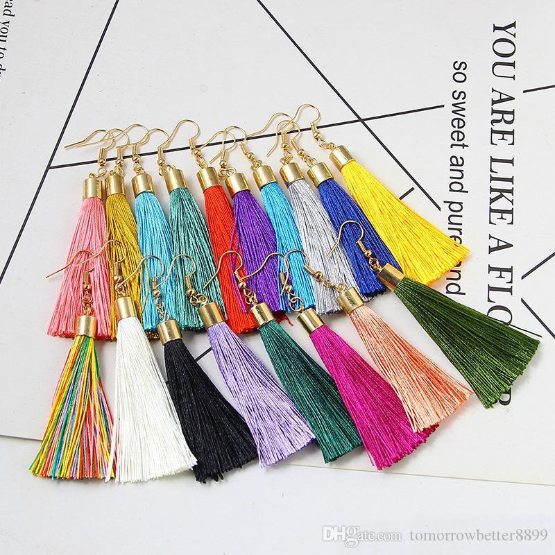 18 color caliente de la venta europea niña gota para el oído joyería de los accesorios pendientes de la borla de aleación pernos prisioneros del oído del oído largo gota para el oído