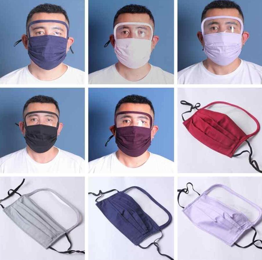 2 en 1 Bouclier Masque Visage anti-poussière Masques visage facial Protection anti-buée huile Lavable écran en plastique masque de protection