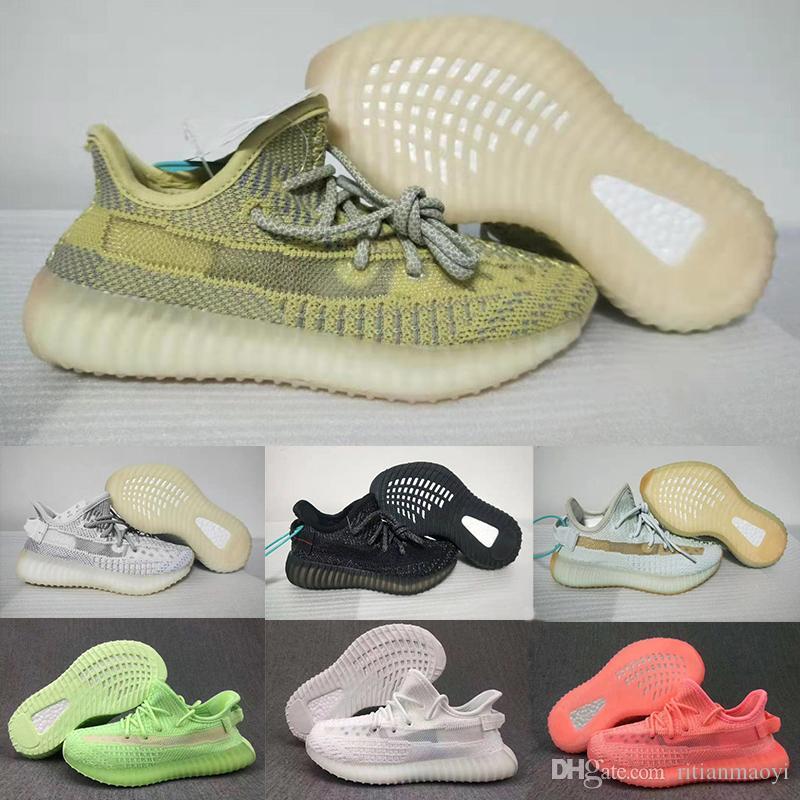 Designer Brand Kids Kanye West Antlia Gid Glow Hyperspace Clay Black Angel Static V2 Boys Girls Running Shoes Children Sports Sneakers 28-35