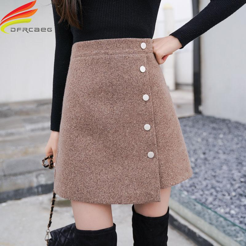 Jupe hiver femme Skort 2020 Nouveautés Kaki Noir taille haute Une ligne Cachemire Jupe coréenne style Femmes Mini Jupes Vente chaude