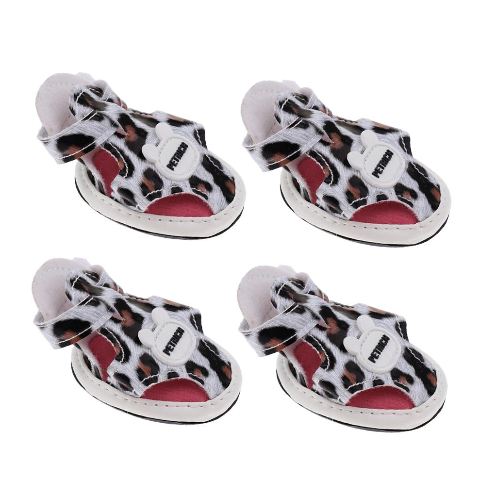 4Pcs/set Pet Dog Puppy Sandals Shoes Sports Sneakers Anti-Slip Protective Boots