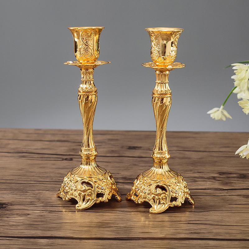 UK 1 Pair of Metal Candlestick Candle Holder Stand Desktop Home Party Xmas Decor
