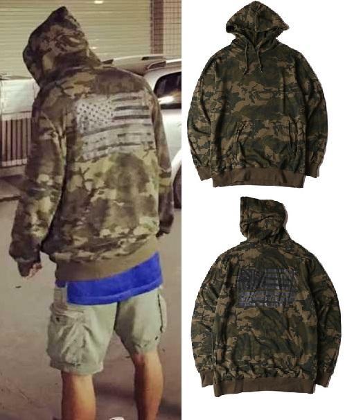 Streetwear dos homens camuflagem Hip Hop Hoodies Moda Hi-Street camisola Masculino Oversized com capuz Camo com capuz Bandeira Impresso americano
