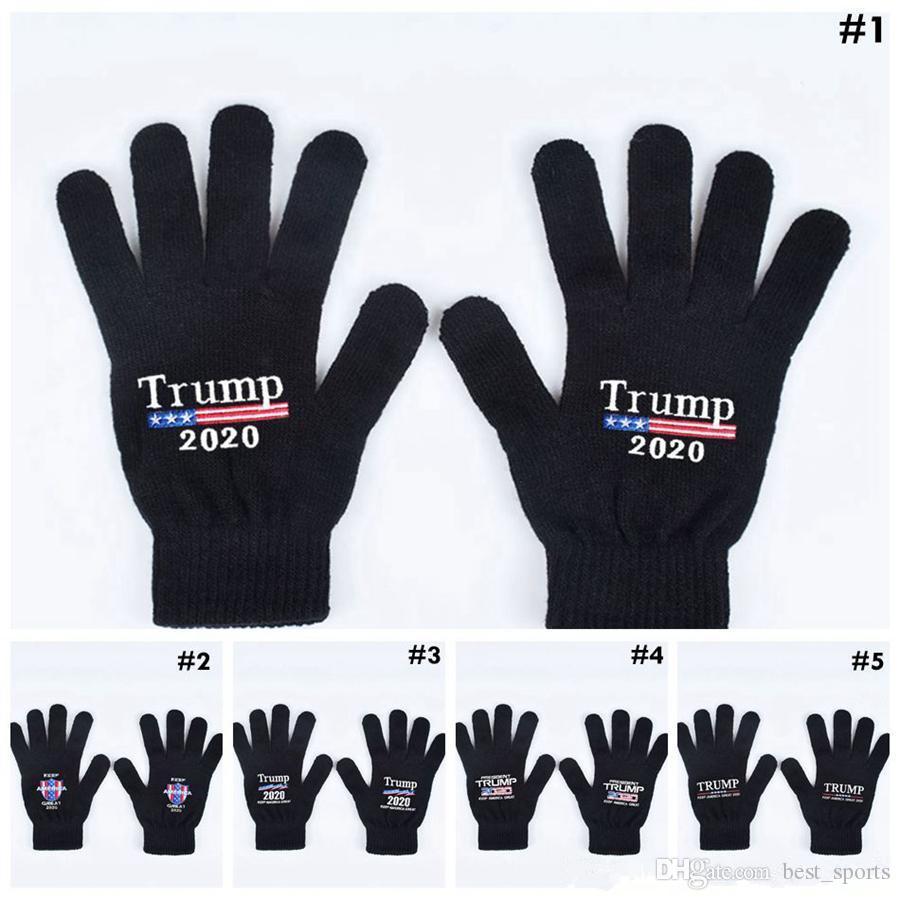 Трамп 2020 перчатки держать Америку большое письмо печатные пять пальцев перчатки Спорт на открытом воздухе зимние теплые варежки MMA2963