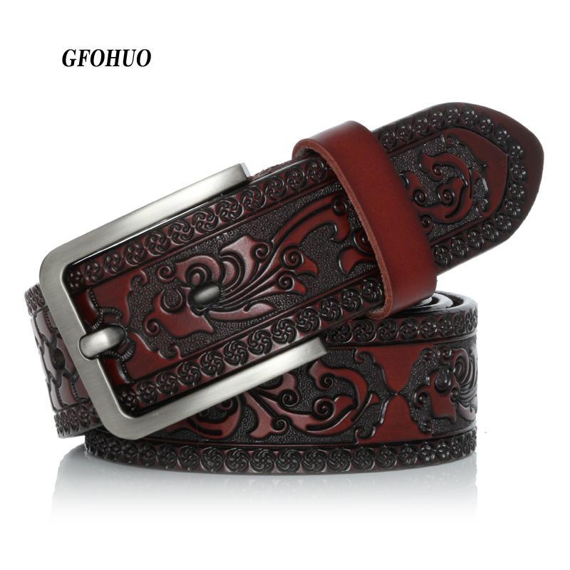 Cinghie di cuoio genuine di nuovo modo di intagliato Vintage Court modello cintura di alta qualità per gli uomini Grande Nome