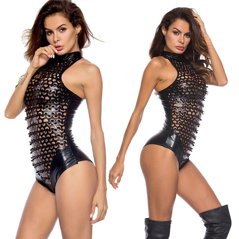 Sexy Hole Black Catsuit Costume Erotic Party Punk PVC Jumpsuit Fetish Faux Leather Night Club Pole Dance Bodysuit