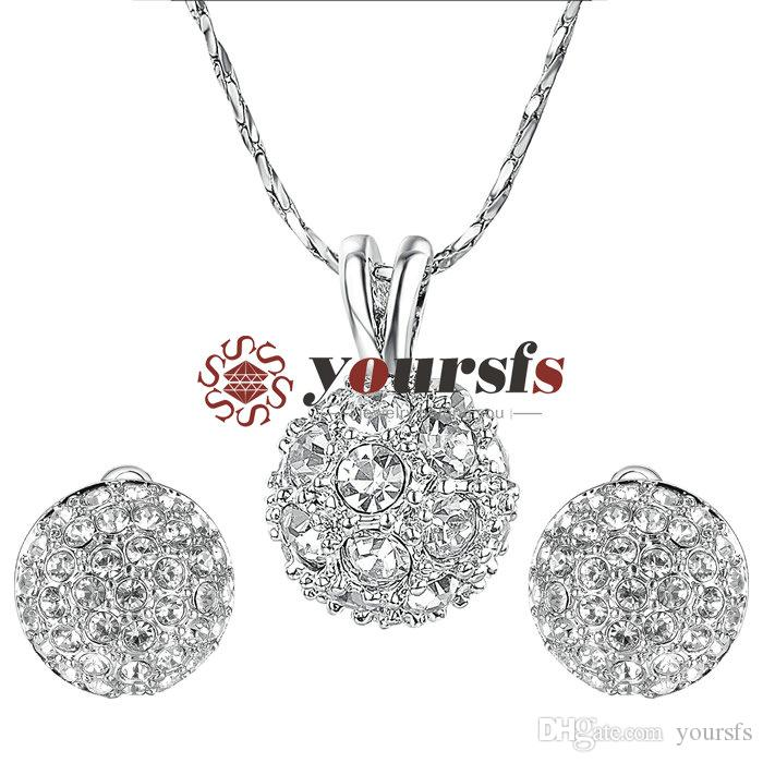 Yoursfs Bridesmaid Jewelry Set Round Sparkly Cluster Rhinestone Disc Ball Clip on Earrings&Pendant Necklace