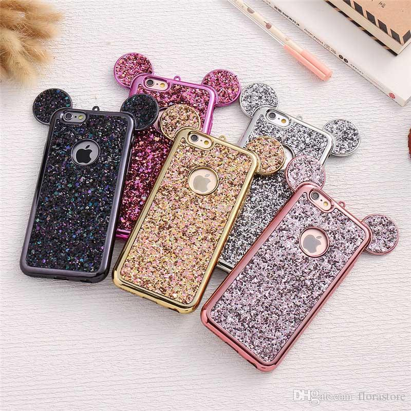Glitter Cartoon Colorful silicone mouse cassa del telefono dell'orecchio placcato bumpler TPU Bling copertura del telefono per iPhone 7 8PLUS XR X MAX