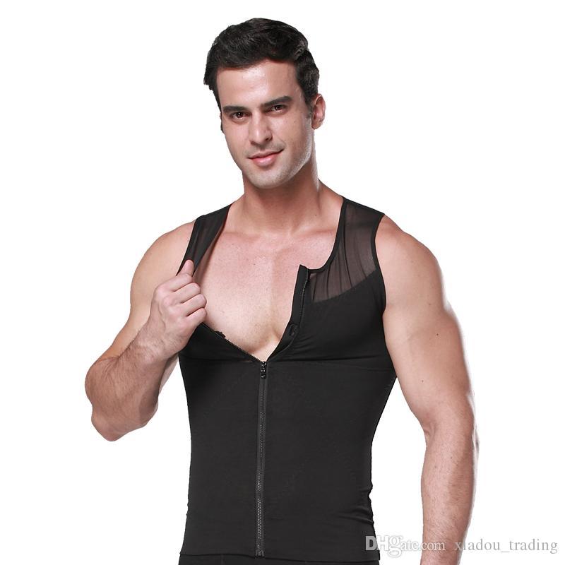 Erkek Korse Ön Fermuar Net Vücut Korse Bodysuit Ince Yelek t-shirt Erkek Bel iç çamaşırı Vücut Şekillendirme Kilo Kaybetmek