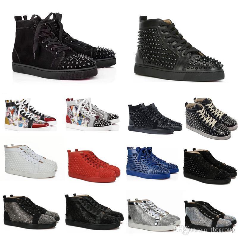 Лучшие дизайнерские кроссовки шипованных Шипы обувь мужские тренеры Кружевные мужские плоские ботинки сверкают граффити Сторона Свадебная обувь 20 цветов SZ США 13