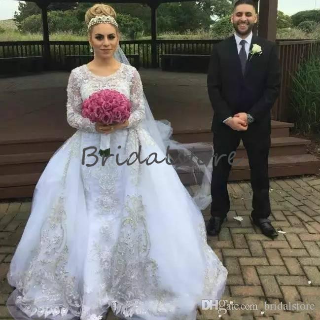 2019 White Country Wedding Dresses With Detachable Train O Neck Long Sleeve Lace saudi arabia boho wedding dress plus size robe de mariée
