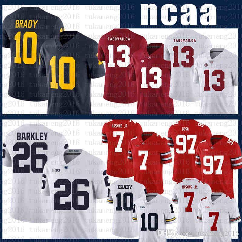 NCAA Alabama Carmesim Maré Futebol Jersey 13 Tua Tuavailoa Michigan Wolverines 10 Tom Brady 26 Saquon Barkley Axwef