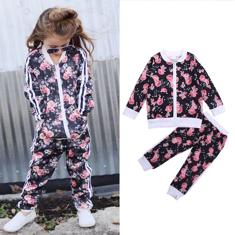 2019 новый малыш дети девочка комплект одежды повседневная спортивная одежда цветочные с длинным рукавом куртки пальто брюки 2 шт. Детская одежда