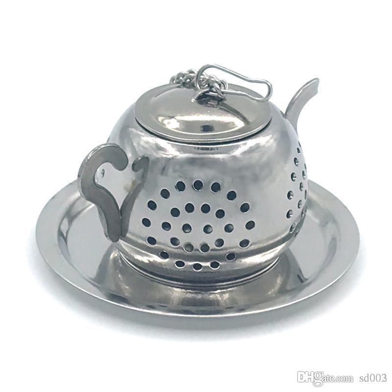 Chás de Potenciômetro redondo Chás de Aço Inoxidável Coador Infusor Forma de Bule de Chá Prateado Com Cadeia de Vida Doméstica Suprimentos Chassis Criativo 5xzC1