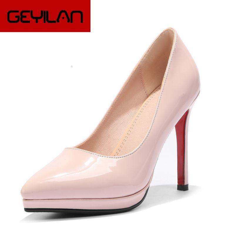 2019 Spring Autumn Women Shoes Platform Shoes Sexy Thin High Heels Pumps Patent Leateher Slip On Dress Shoes Female Black Nude