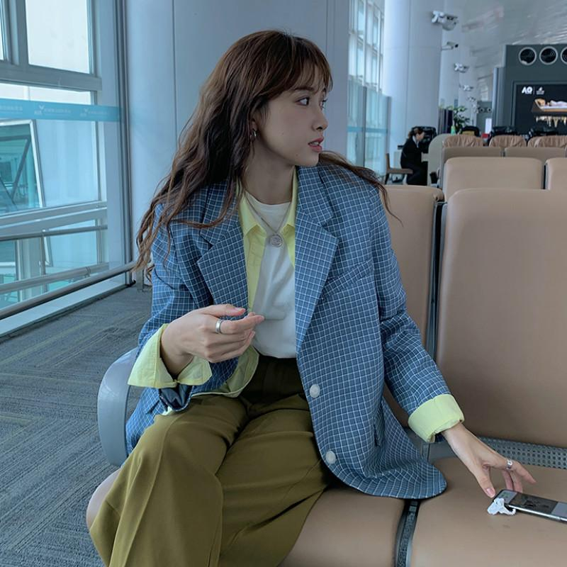 Corea del estilo de la tela escocesa de las mujeres Traje de primavera Nueva Laydies Oficina Blazers con muesca chaqueta de cuello Coats 2020 de primavera y verano Casual Abrigos