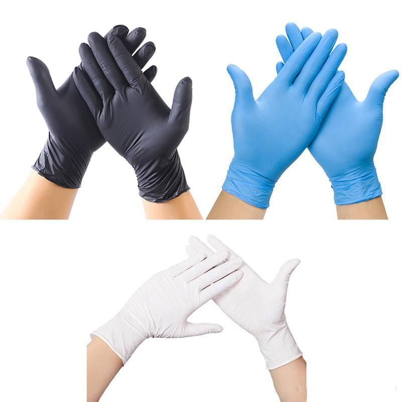 Nitrilhandschoenen 100 stks / partij Blauwe Beschermende Handschoenen Wegwerp Werk Veiligheid Handschoenen Rubberen Factor DHL Deur naar Door