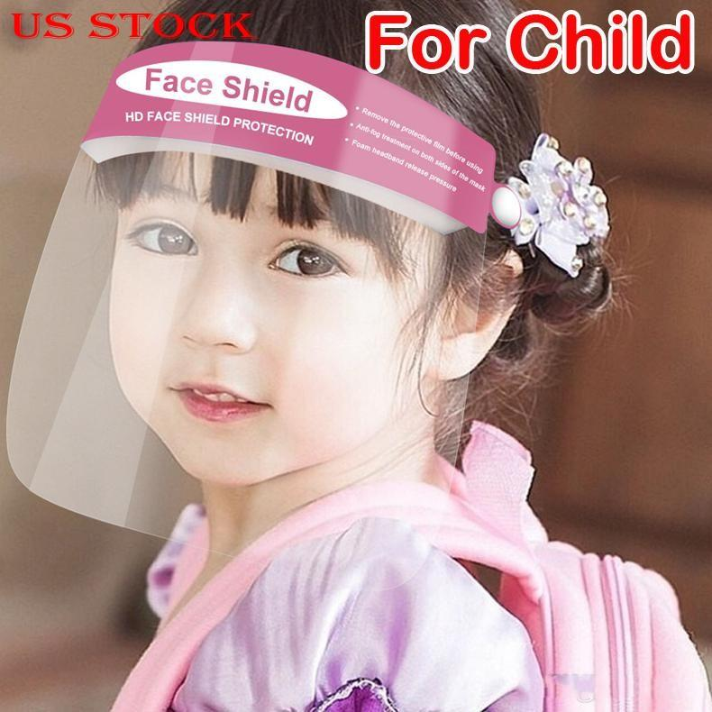 US Stock now!Protective Face Shield Clear Mask For Children Anti-Fog Full Face Isolation Transparent Visor Protection Splashing Safety Child