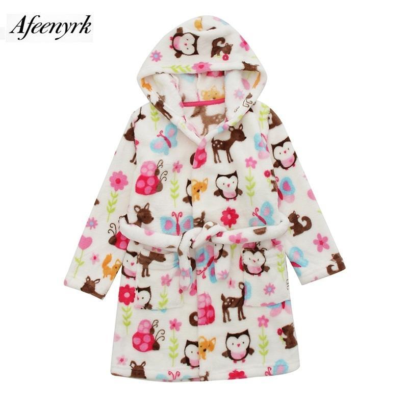 Sonbahar Kış Bebek Fanila Robe Bornoz Çocuk Karikatür pijamalar Kapşonlu Bebek bornozlar Erkekler Kızlar Pijama Kıvam Ev Giyim Y200704