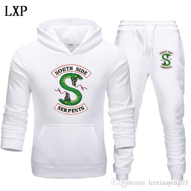 Männer Neue Trainingsanzug Zweiteiliger Hoodies + Hosen Herbst / Winter Riverdale Hoodies Sweatshirts Anzug Mann Jogging Tracksuits EL-5