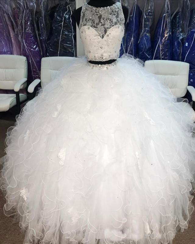 White Two Pieces Ball Gown Quinceanera Prom Dresses Cheap Sheer Neck Lace Crystal Ruffles Tulle Sweet 16 Party Dress