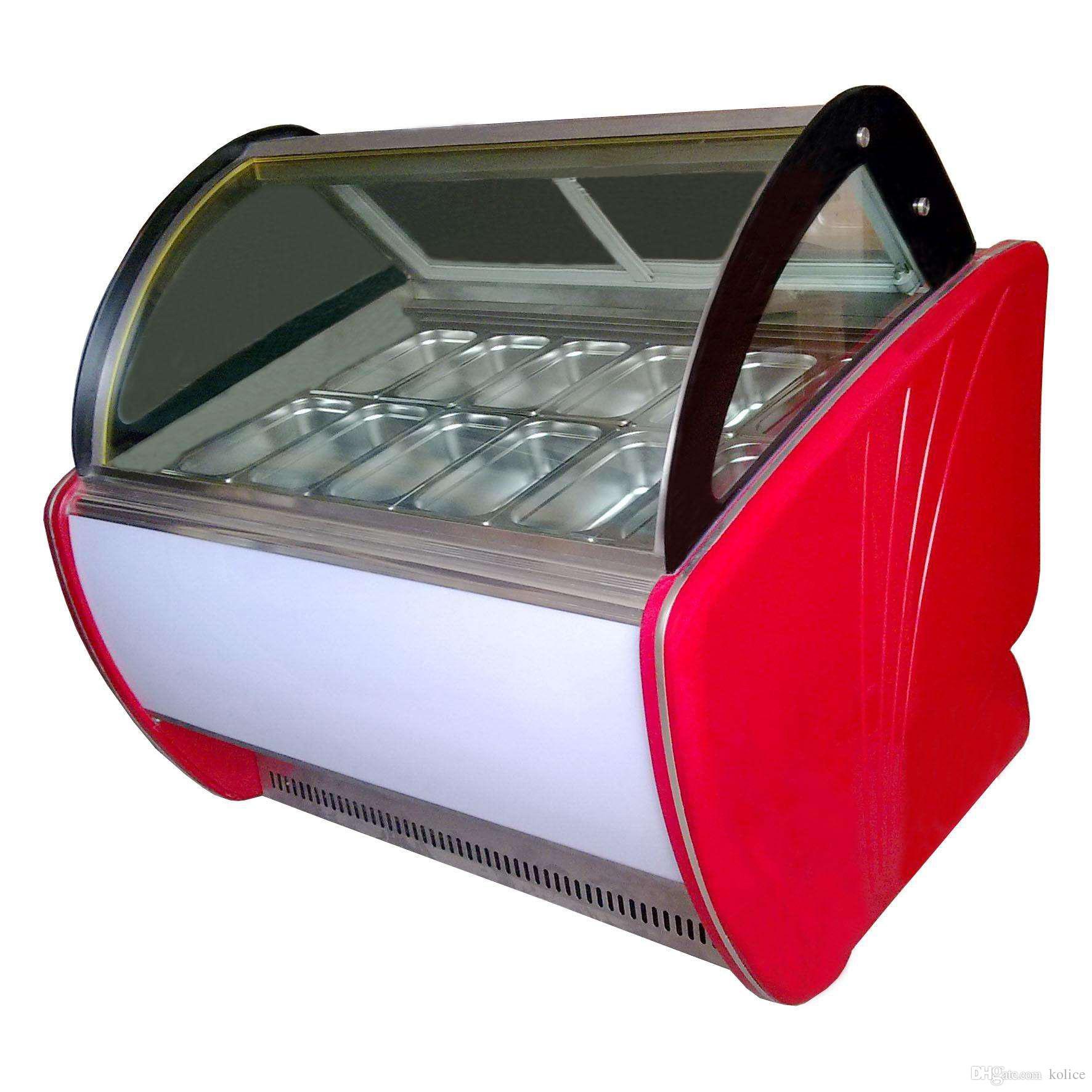 Freier Versand Kühlluft Konvektion Design, Anti-Beschlag Glas 12 Trommeln Eis Vitrine Gefrierschrank / Eis-Display Gefrierschrank / Eis Gefrierschrank